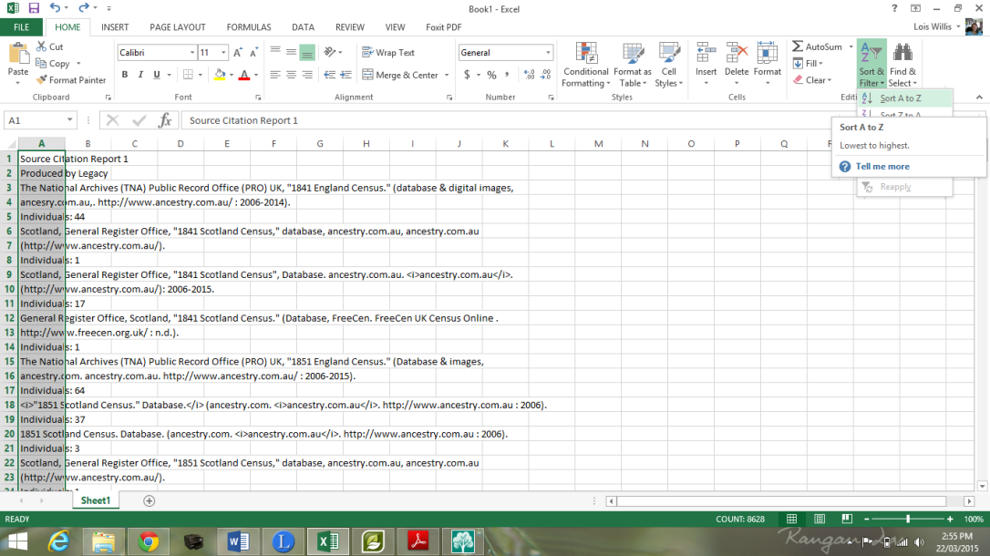 Sorting in Excel