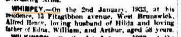 Alfred Henry Whimpey death notice