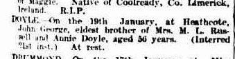 John George Doyle death notice