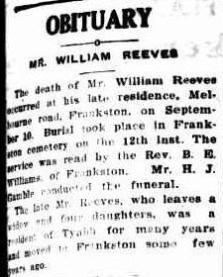William Reeves obituary