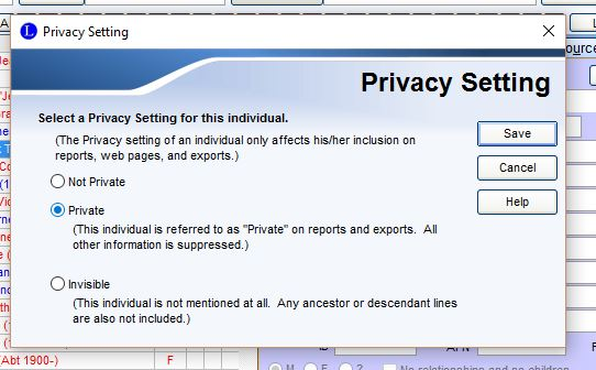 Privacy settings in Legacy