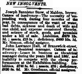New Insolvents Joseph Bannister Stow