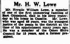 Mr. H. W. Lowe obituary