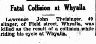 Fatal collision at Whyalla