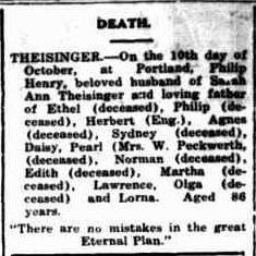 Phillip Henry Theisinger death notice