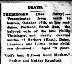 Sarah Ann Theisinger death notice
