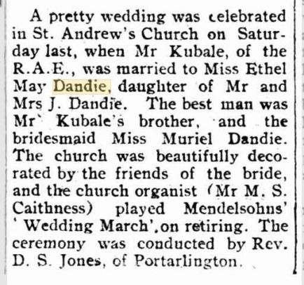 Ethel May Dandie marriage
