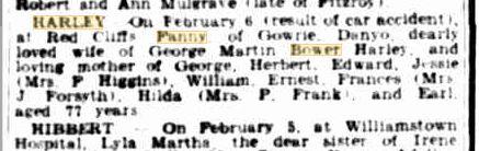 Fanny Harley death notice