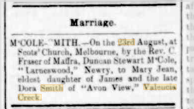 McCole Smith marriage notice