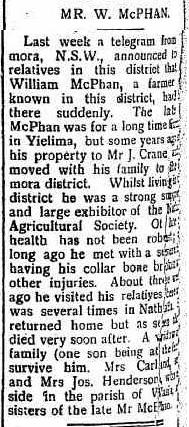 Mr. W. McPhan obituary