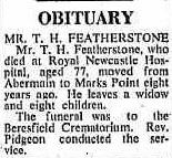 T H Featherstone obituary