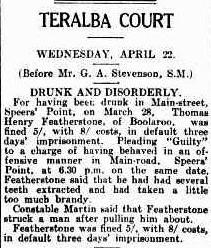 Thomas Featherstone drunk and disorderly