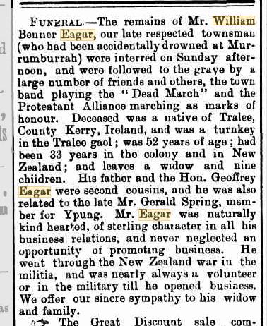 William Benner Eagar funeral notice