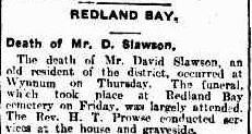 Death of Mr. D. Slawson