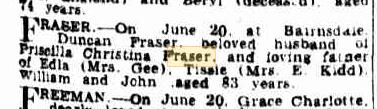 Duncan Fraser death notice