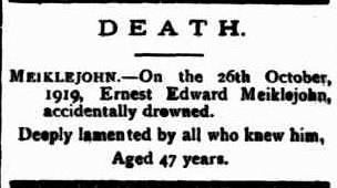 Ernest Edward Meiklejohn death notice