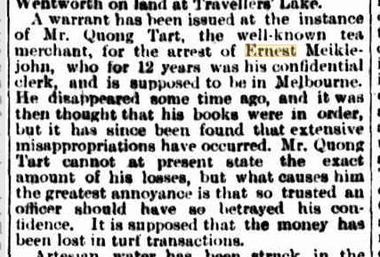 Ernest Meiklejohn warrant