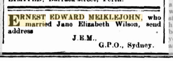 Ernest Edward Meiklejohn missing friend