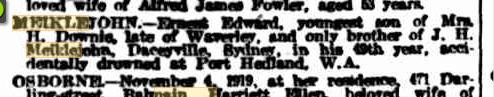 Ernest Edward Meiklejohn death notice