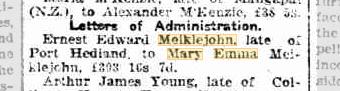 Erenst Edward Meiklejohn Letters of Administration