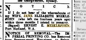 Jane E Meiklejohn whereabouts