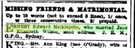 Missing Friends Ernest Edward Meiklejohn