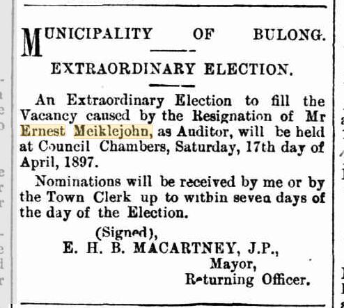 Resignation of Ernest Edward Meiklejohn
