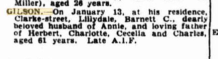 Barnett Charles Gilson death notice