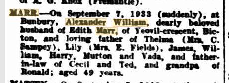 Alexander William Marr death notice