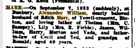 Alexander William Marr death notice
