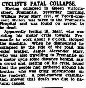 Cyclist's fatal collapse