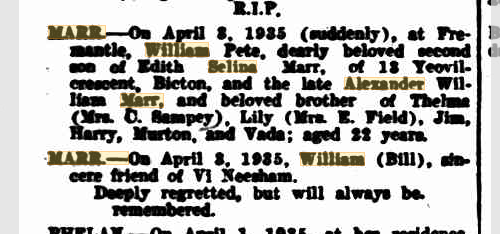 2016-06-14 William Pete Marr death notices