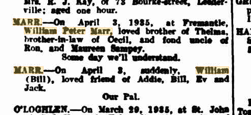 William Peter Marr death notices