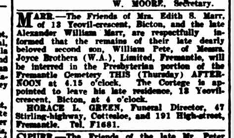 William Peter Marr death and funeral notices