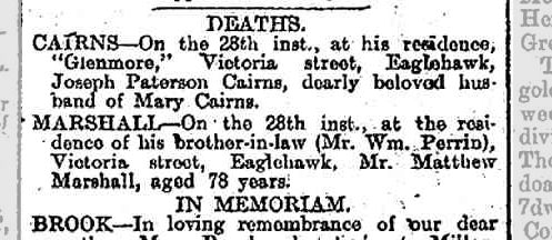 Matthew Marshall death notice