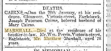 Matthew Marshall death notice
