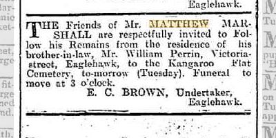 Matthew Marshall funeral notice