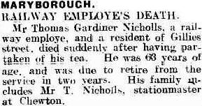 Railway Employe's Death