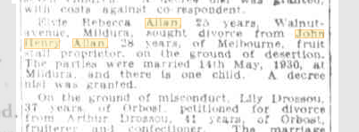 Elvie Rebecca Allan divorce