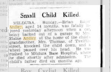Small child killed