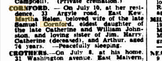 Martha Helen Cornford death notice