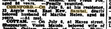 Samuel Cornford death notice