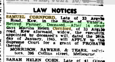 Samuel Cornford Law Notice