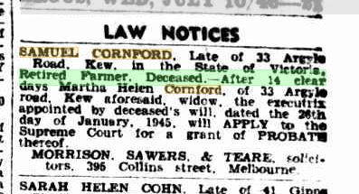 Samuel Cornford Law Notice