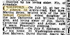 Martha Cornford 2nd death notice