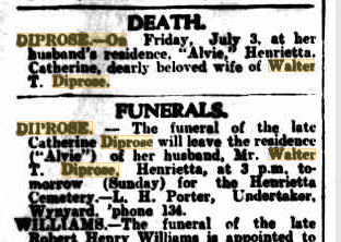 Catherine Diprose death & funeral notice
