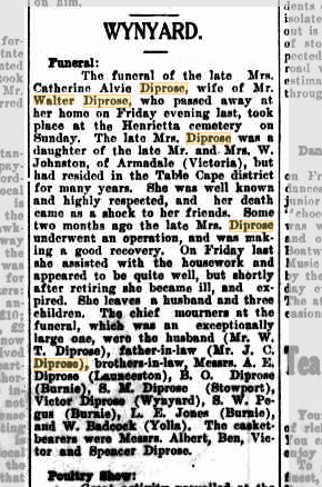 Catherine Diprose funeral notice