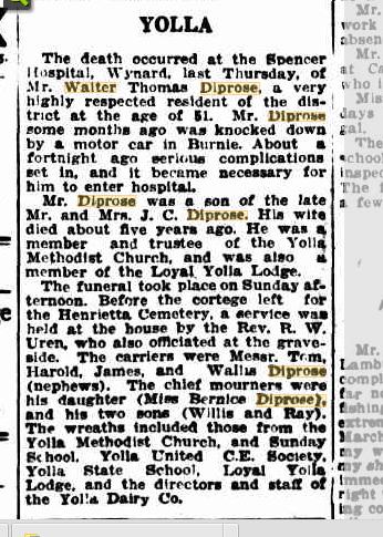 Mr Walter Thomas Diprose obituary