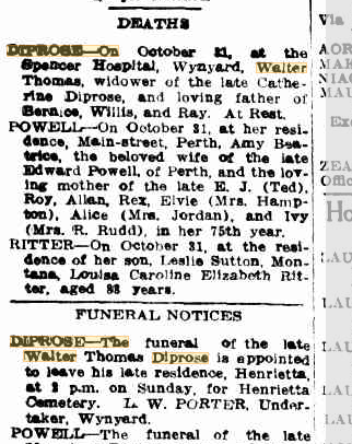 Walter Thomas Diprose death & funeral notices