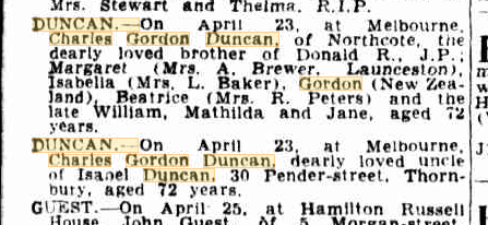 Charles Gordon Duncan death notices